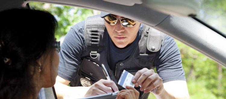 Policeman stops woman